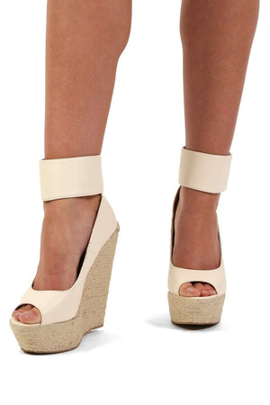 Open Toe Wide Ankle Strap Wedge Sandals in Cream 1