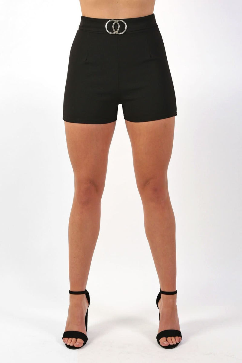 Double Circle Buckle Detail High Waisted Fitted Shorts in Black 1