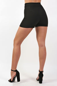 Double Circle Buckle Detail High Waisted Fitted Shorts in Black 2