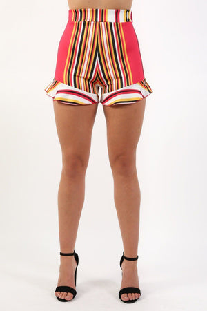 High Waist Multi Stripe Frill Hem Fitted Shorts in Red 1