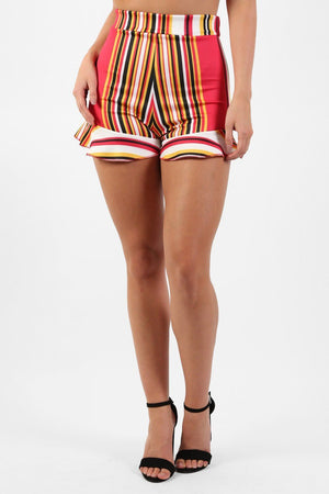 High Waist Multi Stripe Frill Hem Fitted Shorts in Red 3