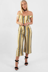 Multi Stripe Bardot V Neck Culotte Jumpsuit in Mustard Yellow 0