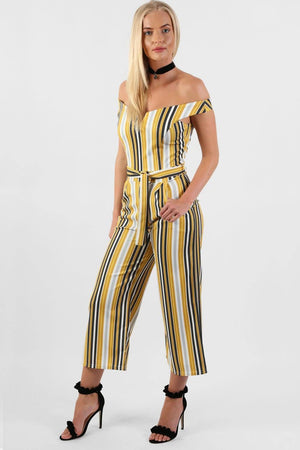 Multi Stripe Bardot V Neck Culotte Jumpsuit in Mustard Yellow 1