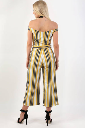 Multi Stripe Bardot V Neck Culotte Jumpsuit in Mustard Yellow 2