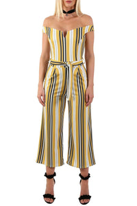 Multi Stripe Bardot V Neck Culotte Jumpsuit in Mustard Yellow 3