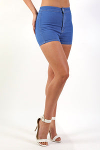 Plain Denim Stretch High Waist Tube Shorts in Denim 0