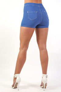Plain Denim Stretch High Waist Tube Shorts in Denim 1
