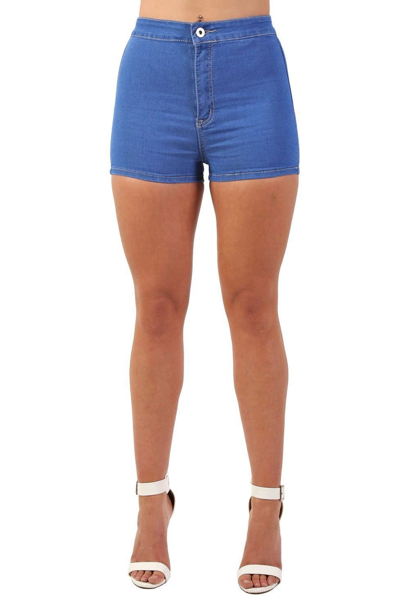 Plain Denim Stretch High Waist Tube Shorts in Denim 3