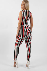 Stripe Wrap Front Jumpsuit in White 2
