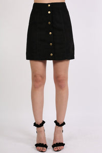 Faux Suede Front Button Mini Skirt in Black 1