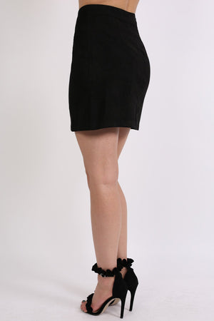 Faux Suede Front Button Mini Skirt in Black 2