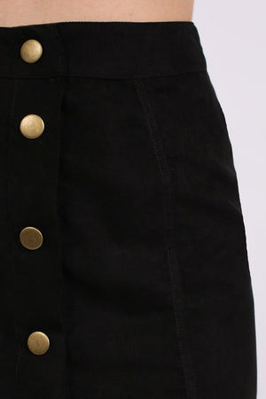Faux Suede Front Button Mini Skirt in Black 3