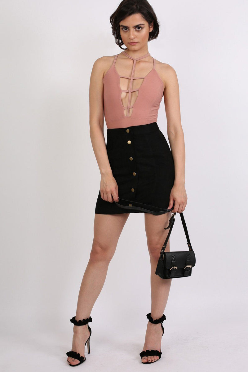Faux Suede Front Button Mini Skirt in Black 4