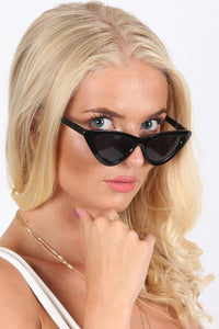 Slim Retro Cat Eye Sunglasses in Black 1