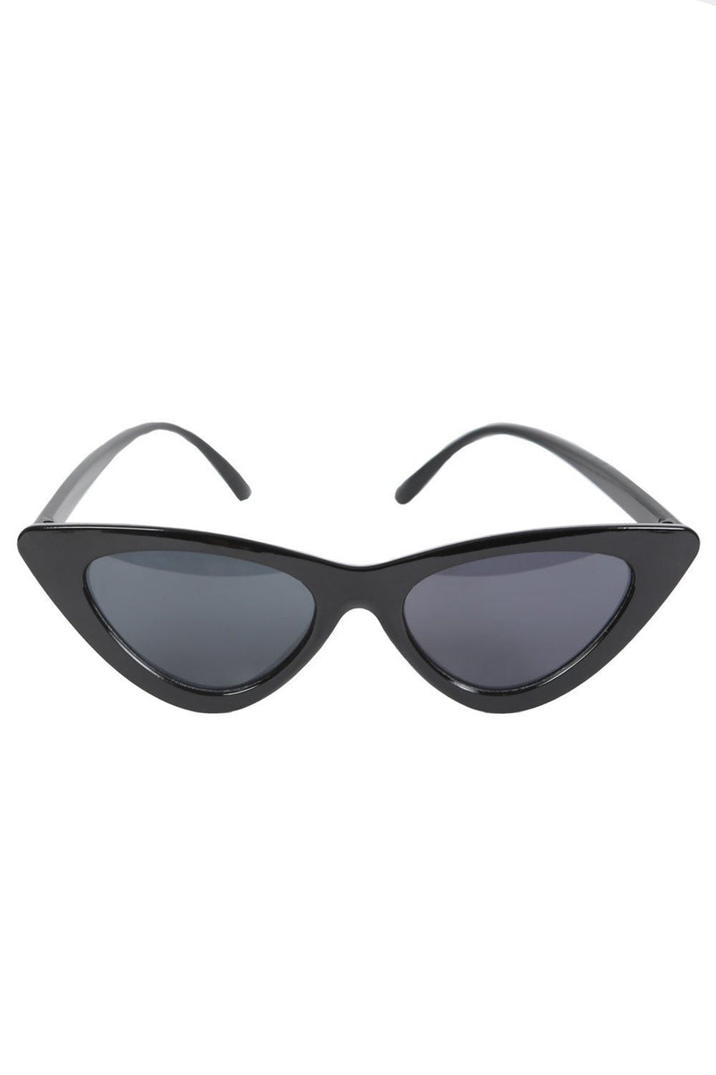 Slim Retro Cat Eye Sunglasses in Black 2
