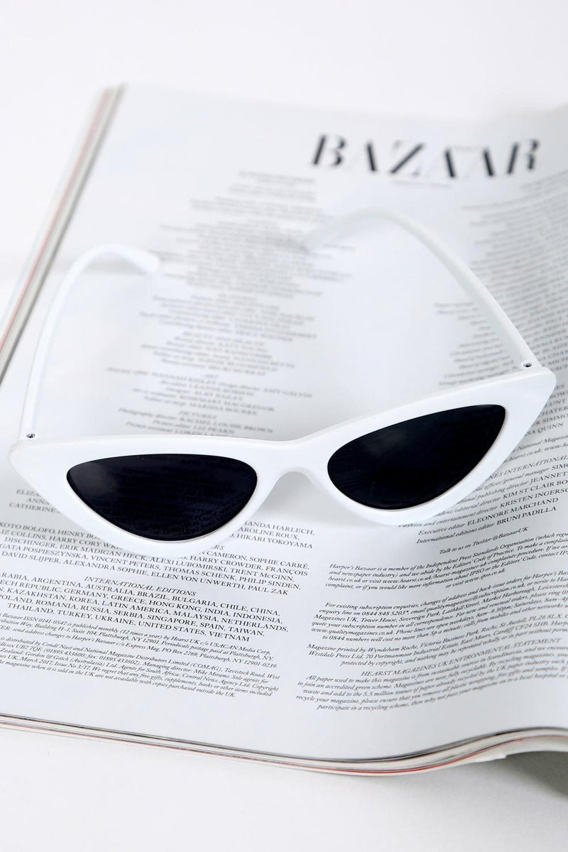 Slim Retro Cat Eye Sunglasses in White 2