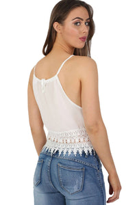 Crochet Trim Strappy Crop Cami Top in White 1