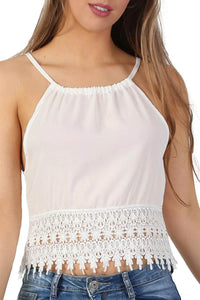 Crochet Trim Strappy Crop Cami Top in White 4