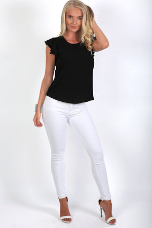 Double Frill Cap Sleeve Blouse in Black 3