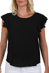 Double Frill Cap Sleeve Blouse in Black 4