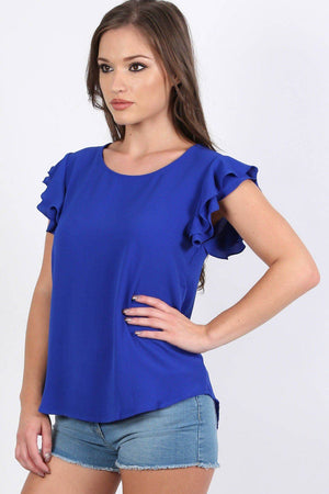 Double Frill Cap Sleeve Blouse in Royal Blue 0