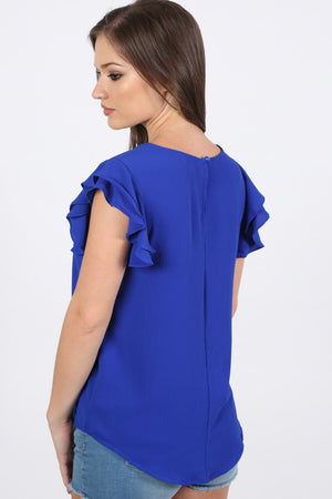 Double Frill Cap Sleeve Blouse in Royal Blue 1