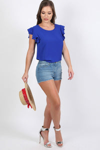 Double Frill Cap Sleeve Blouse in Royal Blue 3