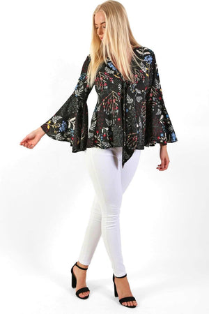 Floral Print Bell Sleeve Tie Detail Smock Top in Black 2