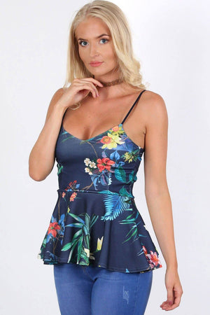 Floral Print Strappy Peplum Top in Navy Blue 0