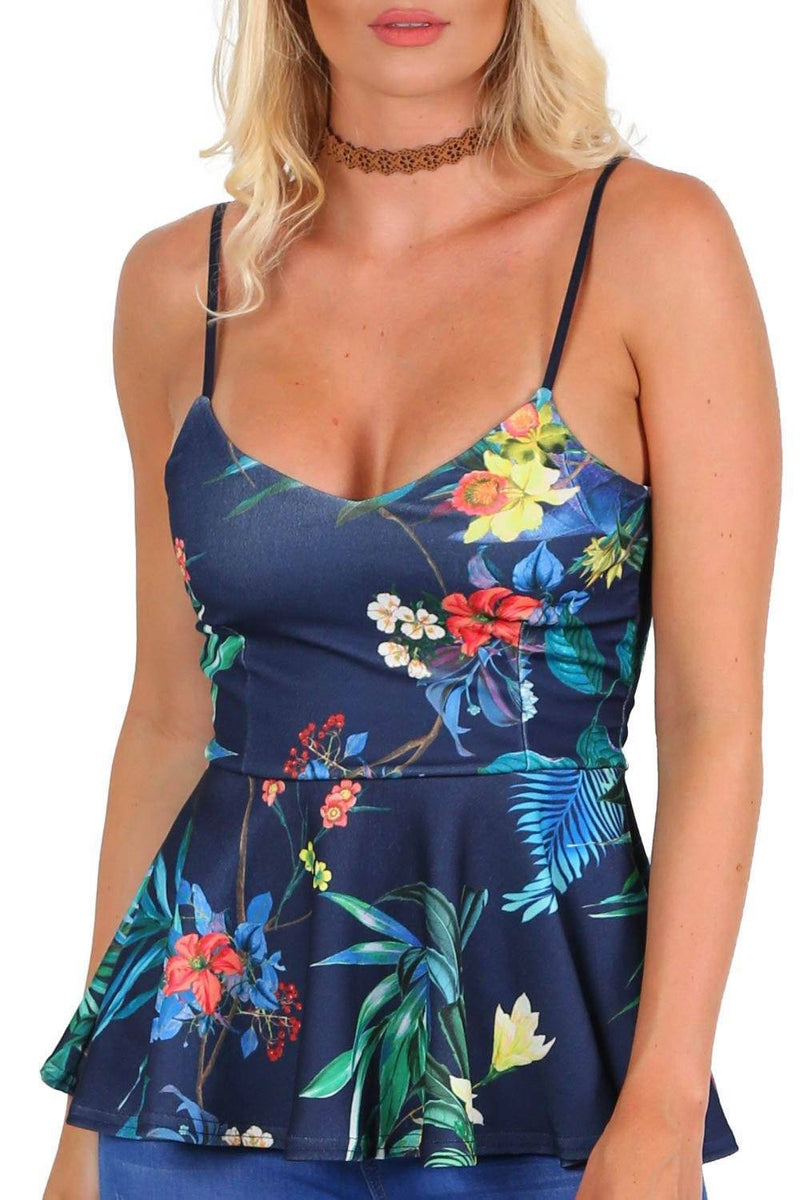Floral Print Strappy Peplum Top in Navy Blue 3
