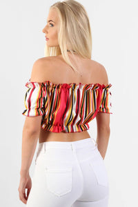 Multi Stripe Frill Detail Bardot Crop Top in Red 1