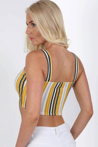 Multi Stripe Strappy Crop Top in Mustard Yellow 1