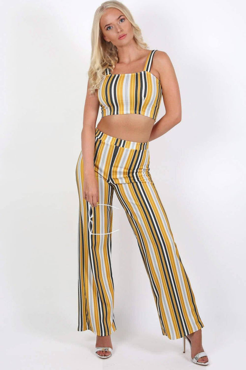 Multi Stripe Strappy Crop Top in Mustard Yellow 2