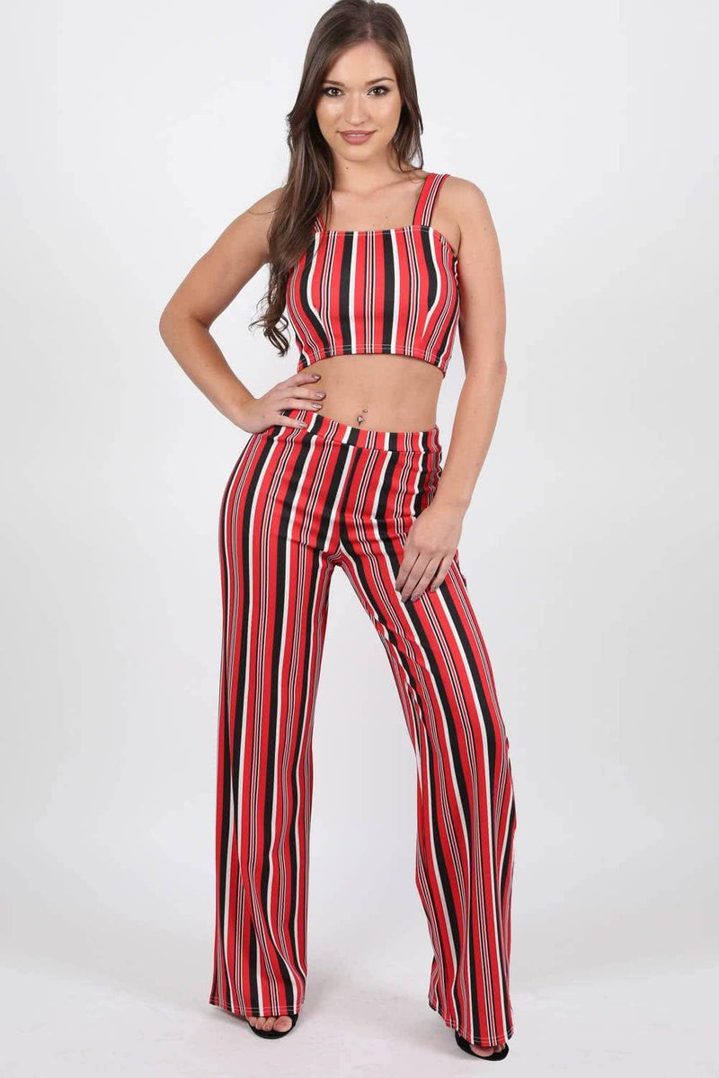 Multi Stripe Strappy Crop Top in Red 2