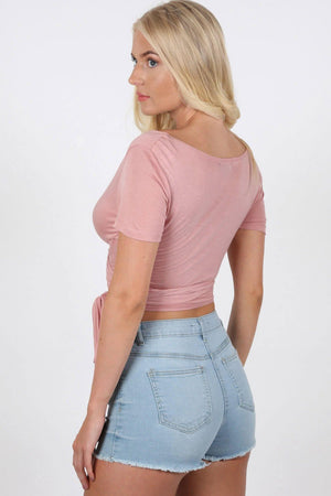 Plain Cap Sleeve Tie Wrap Crop Top in Dusty Pink 2