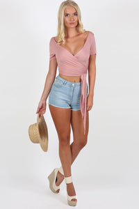 Plain Cap Sleeve Tie Wrap Crop Top in Dusty Pink 3