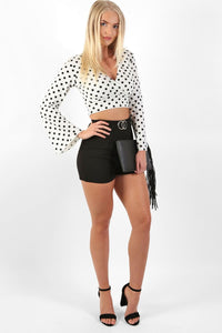 Polka Dot Long Flare Sleeve Wrap Crop Top in White 3