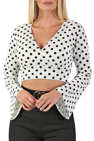 Polka Dot Long Flare Sleeve Wrap Crop Top in White 4