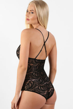 Sheer Lace Cross Back Bodysuit in Black 1