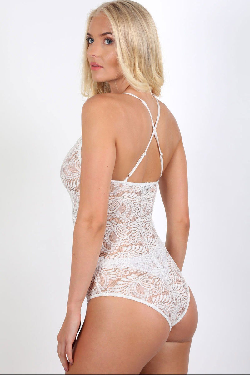 Sheer Lace Cross Back Bodysuit in Cream 1