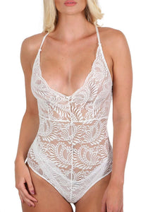 Sheer Lace Cross Back Bodysuit in Cream 3