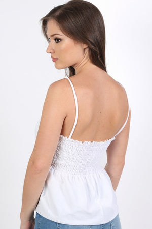 Shirred Strappy Frill Hem Crop Top in White 1