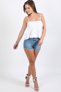 Shirred Strappy Frill Hem Crop Top in White 2
