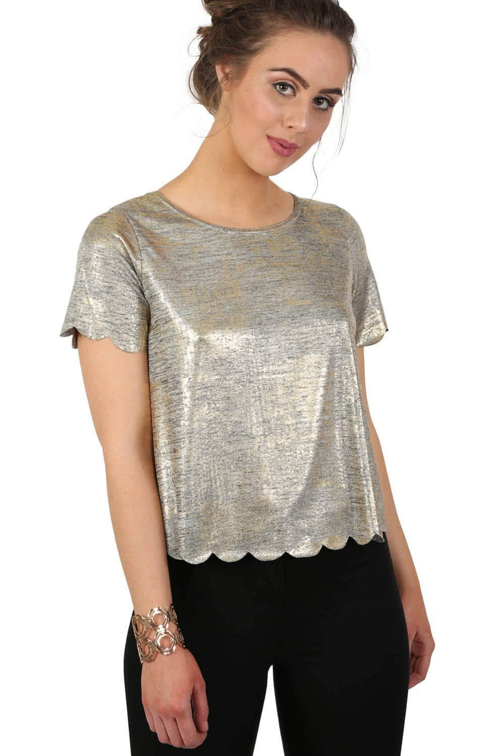 Short Sleeve Metallic Scallop Edge Top in Gold 0