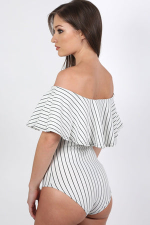 Striped Deep Frill Bardot Bodysuit in White 1