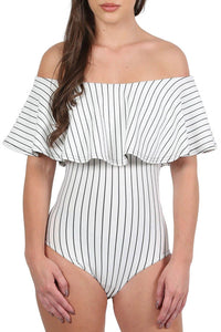 Striped Deep Frill Bardot Bodysuit in White 3