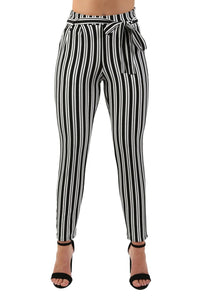 Monochrome Stripe Belted Crepe Trousers in Black 3
