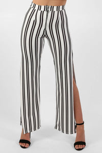 Monochrome Stripe Side Split Wide Leg Trousers in Ivory White 1