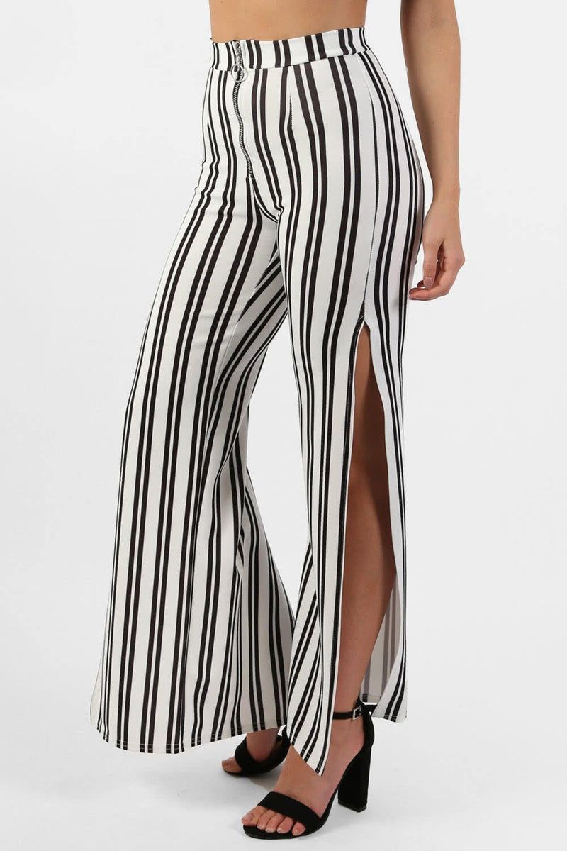 Monochrome Stripe Side Split Wide Leg Trousers in Ivory White 2