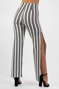 Monochrome Stripe Side Split Wide Leg Trousers in Ivory White 3